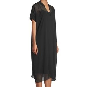 Eileen fisher•silk georgette black dress M